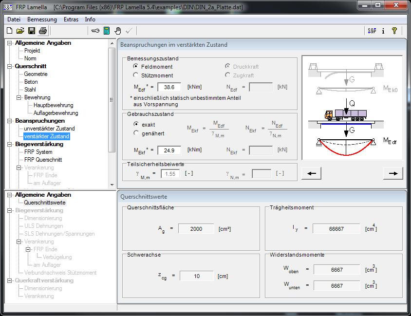 نرم افزار طراحی ، محاسبات FRP lamella