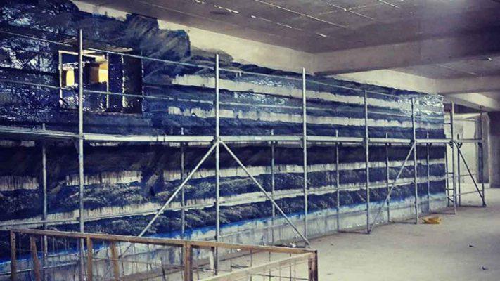 مقاوم سازی دیوار برشی ساختمان تجاری با الیاف FRP