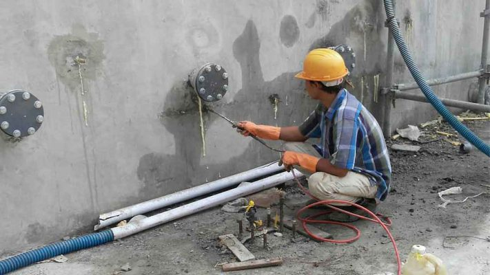 ترمیم دیوار بتنی مخزن با روش تزریق